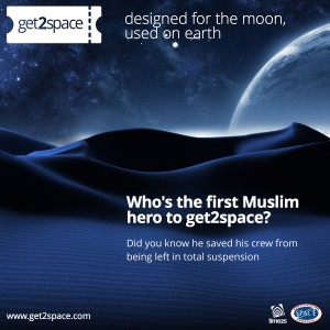 Who's the first Muslim hero to get2space?